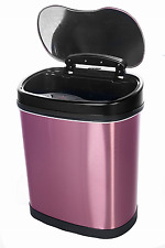 Can Trash Touchless Infrared Wastebasket Stainless Steel Sensor Garbage Purple
