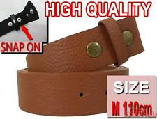 BROWN MEDIUM 110cm Easy Snapon PU Leather snap on for mens womens unisex belt