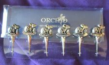 More details for ochid set of 6 metal cheese markers / labels silver plated vintage cheese mice