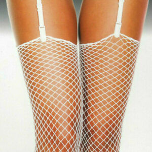 Fishnet Stockings Diamond Net Unfin Tops Spandex White One Size Music Legs 4936