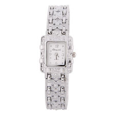 Damen Armband Uhr Edelstahl Silber Kristall Zifferblatt Quarzuhr Armband