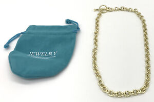 Paperclip Necklace 14K Gold Plated Chunky Chain Link Necklace for Women & Girls