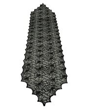 "Purple Lace Spider Web Table Runner 18""x72"" Scalloped Gothic Drape HALLOWEEN"