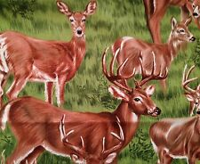 Beautiful DEER Family Doe Buck Animals Novelty Quilt Fabric Fat Quarter FQ FQs