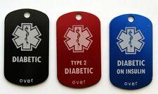Diabetes Diabetic Medical Alert Tag - Free Custom Engraving Personalization