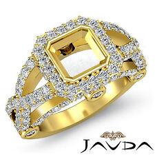 Asscher Semi Mount Diamond Engagement Halo Ring 1.4C 18k Yellow Gold Cross Shank