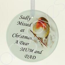 Angraves Mum & Dad Christmas Robin Memorial Tree Hanging Decoration Gift Plaque