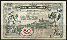 Billet 50 Francs, Union des Commerçants de Béziers. Vers 1920. France. Superbe