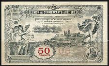 Billet 50 Francs, Union des Commerçants de Béziers. Vers 1920. France. Superbe