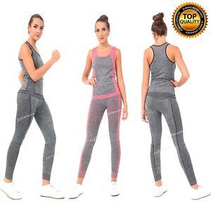 Ladies Gym Wear Fitness Workout Yoga Vest & Leggings Set Sports Clothes Women