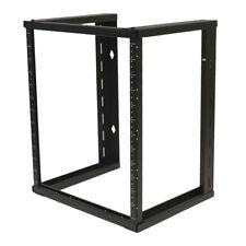 "12U Wall Mount Open Frame 19"" Server Equipment Rack Threaded 15 inch depth Black"