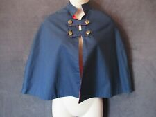 Vintage Navy Red High Neck Victorian Style Caplet Cape