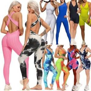 Women Athletic Stretch Pants Leggings Sport Yoga Workout Gym Fitness Jumpsuit AU