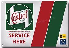 CASTROL HUILE SERVICE Here SIGNE métal A4 taille, rétro, garage.car, moto