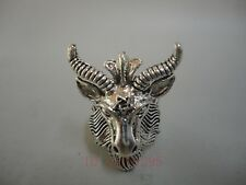 Collection China Tibet Silver Handmade Carved Sheep Head Ring Lovely Decoration