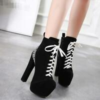 Womens Super High Heel Chunky Ankle Boots Suede Lace Up Platform Shoes Ske15