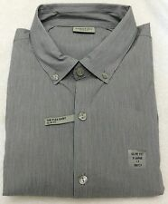 Kenneth Cole Smokey Gray Stripe Slim Fit Long Sleeve Dress Shirt - 17 - 36/37