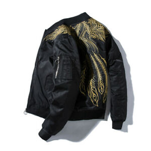 Mens Youth Fashion Embroidered Hip Hop Baseball Bomber Jacket Coat Outwear