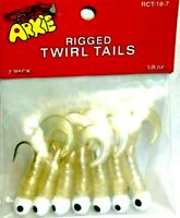 Arkie 1/8 oz. Rigged Pearl / White Soft Twirl Tail Fishing Jigs (7 jigs / pack)