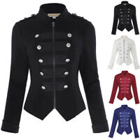 Women's Zipper Blazer Long Button Military Steampunk Basic Top Jacket Coat
