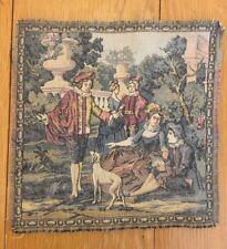 Vintage Victorian Small Tapestry Wall Hanging Panel Belgium People Women Men Dog