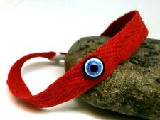 """Pulsera """"Amuleto"""" Ojo turco sobre pulseras roja de algodón - ajust."""