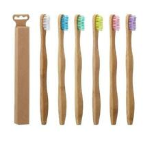 6 Stück Bambus Zahnbürste Mittel in 6 Farben Holz Nachhaltig Holzzahnbürste