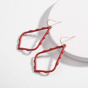 Geometric Pendant Drop Earrings Women's Metallic Teardrop Frame Jewelry
