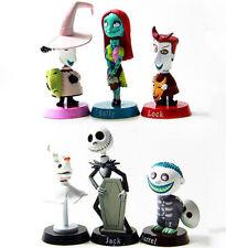6pcs The Nightmare Before Christmas Barrel Jack Bobble Head PVC Figure Model Toy