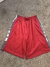 NIKE DRI FIT ELITE Basketball Shorts Size L Red Grey White