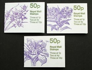GB – 50p Booklets – Orchids – THREE (1, 3 &4) – All Cylinder Numbers – UM (MNH)