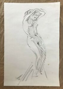 Original Harry Carmean Nude Female Figure Life Drawing Black Charcoal Signed Art