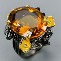 Handmade SET30ct Natural Cognac Quartz 925 Sterling Silver Ring Size 8.5/R109458