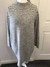 Women Cowl Neck  Dress Jumper Ladies Knitted Long Sleeve Oversized Baggy Top