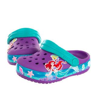 CROCS x DISNEY Kids Clog Sandals EU 19-20 UK 4 US 4 'Mermaid' Patched Perforated