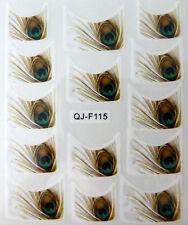 Nail art stickers bijoux d'ongles: 14 décalcomanies motifs plumes de paon design