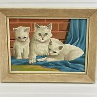 Vintage Paint By Numbers Painting Cat Kittens Sitting Completed Framed 9 x 13