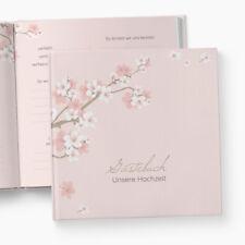 Gästebuch Hochzeit | Fragen | Kirschblüten | personalisiert | Blumen Zweig rosa