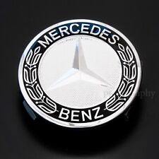 4 Mercedes Wheel Centres Hub Caps 75mm Top Quality Embossed Logo Black & Silver