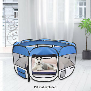 """36"""" Dog Cat Pet Playpen HeavyDuty Oxford Cloth Exercise Fence 8 Panel Blue SK"""