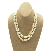 Estate Cream Glass Mother Of Pearl Two Strand Bead Necklace Hook Clasp