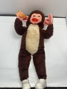 Vtg Monkey Plush Stuffed Doll Rubber Face Banana Brown White