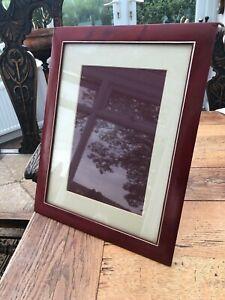 vintage large red leather asprey photo frame !