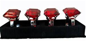 4 DIAMANTE Red Chrome Table Napkin Rings Holder BNWB