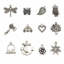 Bingcute 100Pcs Wholesale Bulk Lots Tibetan Silver Plated Mixed Pendants Charms