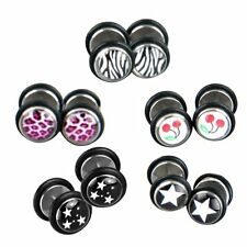 5 Pairs MIX 316L Surgical Steel Fake Ear Studs Plugs Earrings AD