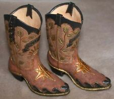 """Pair of Miniature Boot Figurine """"New Dawn"""" Browns  4"""" High Made of Resin"""