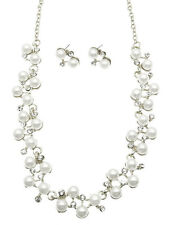96b Bridal SP Faux White Pearl & Clear Crystal Flowing Vine Link Necklace Set