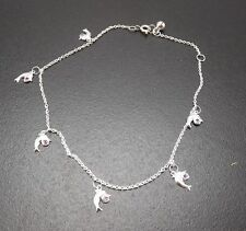 "Solid Sterling Silver .925 Fine Anklet 10.5"" To 11.5"" Porpoise Red Crystal"
