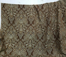 "Damask Medallion Traditional Chenille Upholstery Fabric brown/blue, 54"" side"